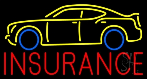 Red Insurance Yellow Car Logo Neon Sign