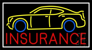 Red Insurance Car Logo With White Border Neon Sign