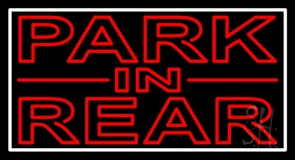Red Park In Rear White Border Neon Sign