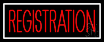 Red Registration White Border Neon Sign