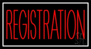 Red Registration Neon Sign