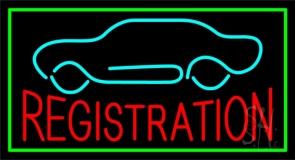 Red Registration Car Logo Green Border Neon Sign