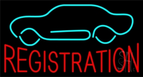 Red Registration Car Logo Neon Sign