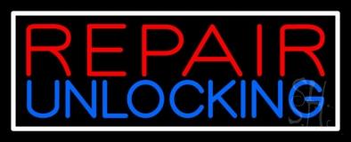 Red Repair Blue Unlocking Block White Border Neon Sign