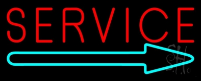 Red Service With Right Arrow 1 Neon Sign