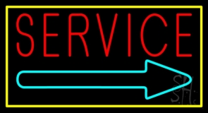 Red Service With Right Arrow Yellow Border Neon Sign