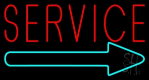 Red Service With Right Arrow Neon Sign