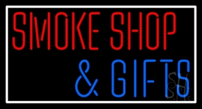 Smoke Shop And Gifts With Border Neon Sign