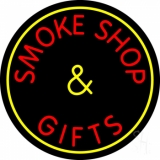 Smoke Shop And Gifts With Yellow Border LED Neon Sign