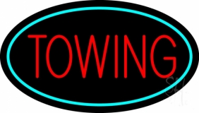 Red Towing Turquoise Border Neon Sign