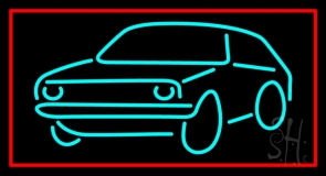 Turquoise Car Logo Red Border Neon Sign