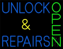 Unlock And Repairs Green Open Neon Sign