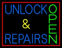 Unlock And Repairs Green Open Red Border Neon Sign