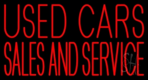 Used Cars Sales And Service Neon Sign