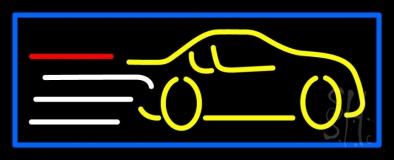 Yellow Car Logo Blue Border Neon Sign