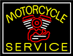 Yellow Motorcycle Service White Border Neon Sign