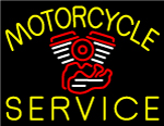 Yellow Motorcycle Service Neon Sign