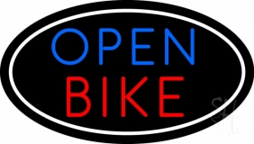 Bike Open With Border Neon Sign