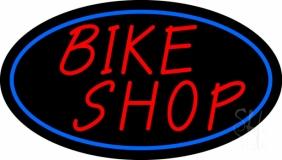 Bike Shop Blue Border Neon Sign