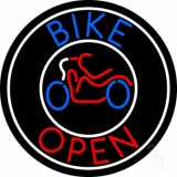 Blue Bike Open With Border Neon Sign