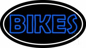 Blue Double Stroke Bikes Neon Sign