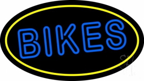 Double Stroke Bikes With Yellow Border Neon Sign