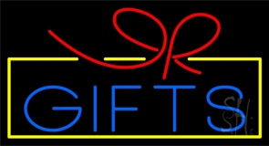 Blue Gifts Block Logo Neon Sign