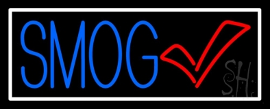 Blue Smog Check White Border Neon Sign