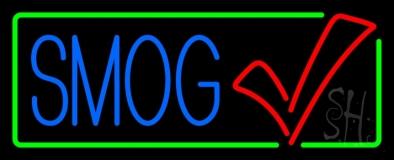 Blue Smog Check Green Border Neon Sign