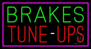 Brakes Tune Up Pink Border Neon Sign