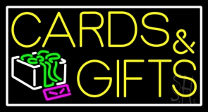 Cards And Gifts Block White Border Neon Sign