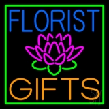 Florists Gifts Green Border Neon Sign