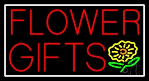 Flower Gifts White Border In Block LED Neon Sign