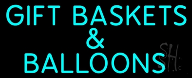 Gift Baskets Balloons Turquoise Neon Sign