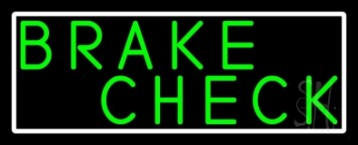 Green Brake Check Neon Sign