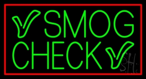 Green Smog Check With Red Border Neon Sign