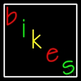 Multicolored Bikes White Border Neon Sign