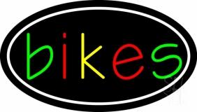 Multicolored Bikes With Border Neon Sign