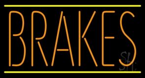 Orange Brakes Yellow Lines Neon Sign