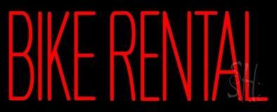 Red Bike Rental Neon Sign