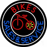 Red Bikes Blue Sales And Service Neon Sign