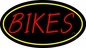 Red Bikes Yellow Border Neon Sign