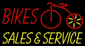 Red Bikes Yellow Sales And Service Neon Sign
