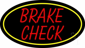 Red Brake Check Neon Sign