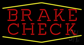 Red Brake Check Yellow Lines Neon Sign