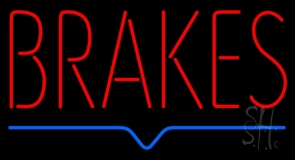 Red Brakes Blue Lines Neon Sign