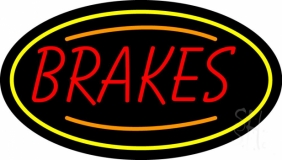 Red Brakes With Yellow Oval Neon Sign