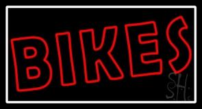 Red Double Stroke Bikes White Border Neon Sign
