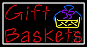 Red Gift Baskets With Logo Neon Sign