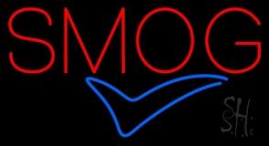 Red Smog Blue Check Logo Neon Sign